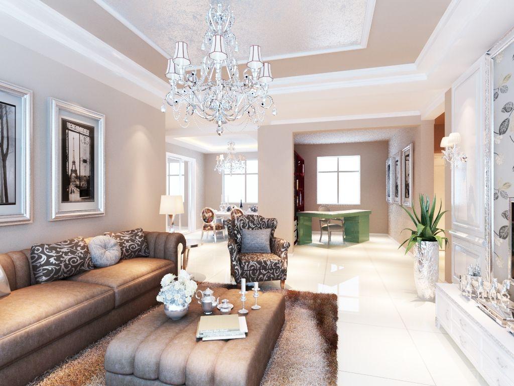空间内的玻璃灯和金属灯,木质的家具,现代的家具,使简约风格发挥的恰