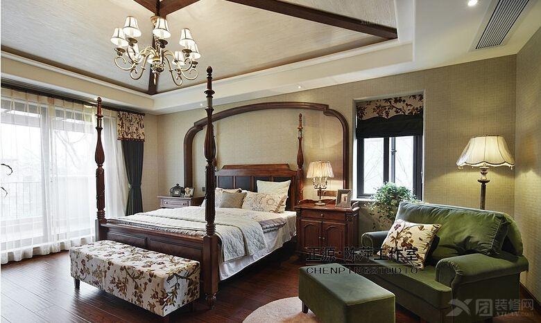 三居室美式风格卧室_八仙别墅装修效果图-x团装修网图片