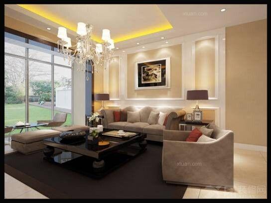 三居室简欧风格客厅电视背景墙_海伦国际109.33平方简欧风格7.8万