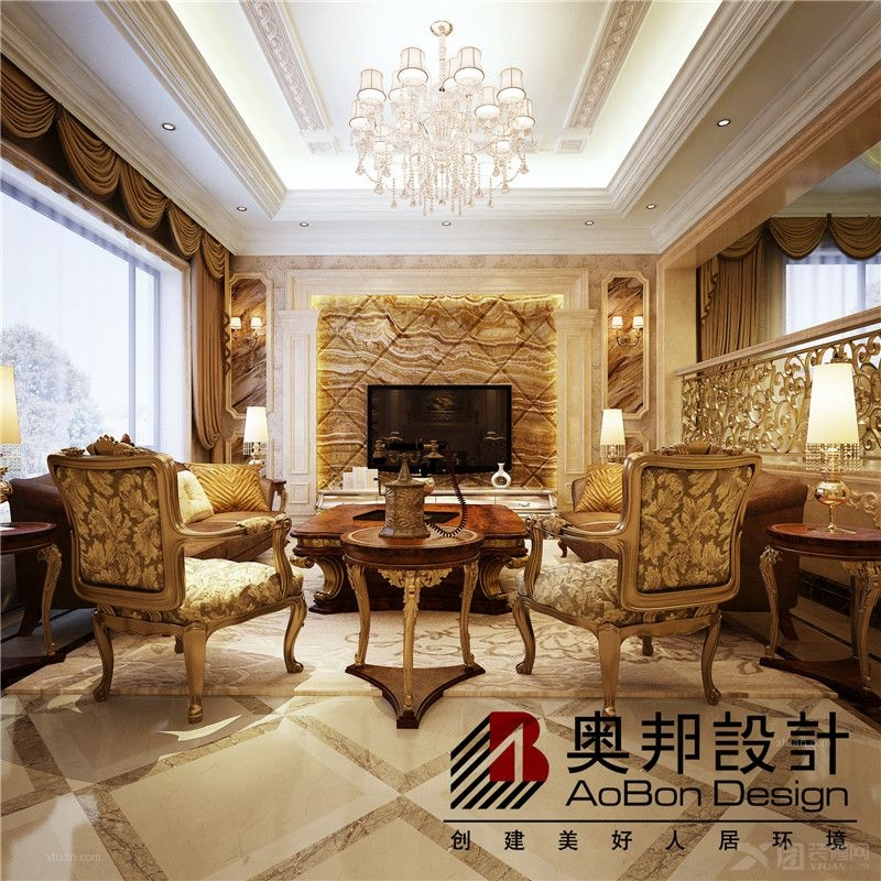 崇明岛达安御廷别墅欧式新古典风格设计装修效果图