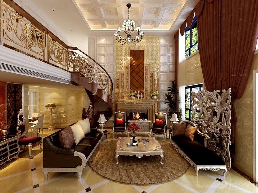 【西安城市人家】曲江南湖一号复式楼设计:宫廷范的欧式古典效果图
