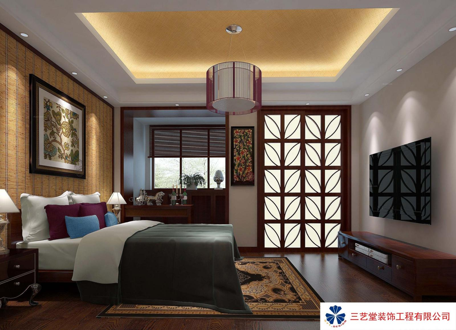 中式卧室装修效果图 套房卧室装