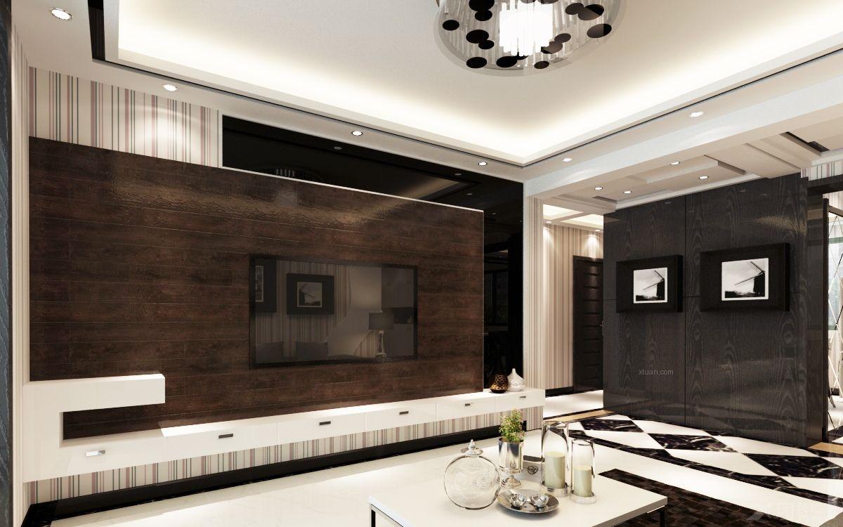 三居室现代风格客厅电视背景墙_黑白灰