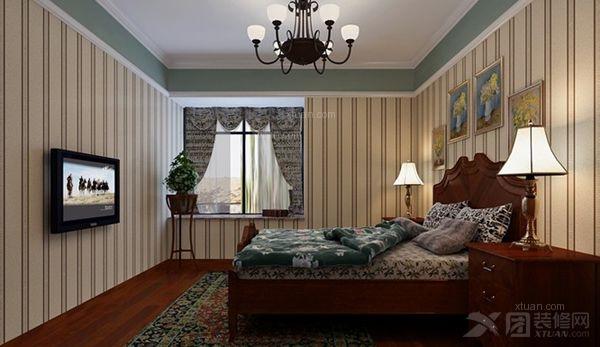 两居室美式风格卧室_奥园金域装修效果图-x团装修网图片