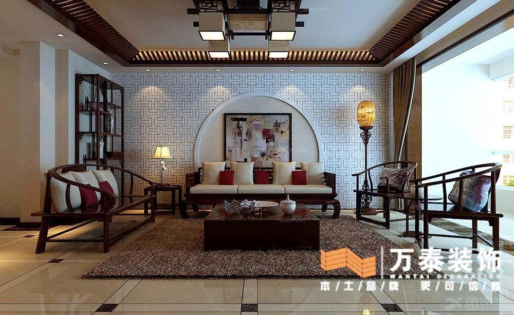 小户型中式风格客厅沙发背景墙_泰安记者村220平,简约