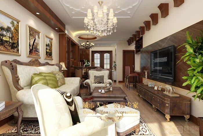 两居室美式风格客厅电视背景墙_海尔时代广场装修效果