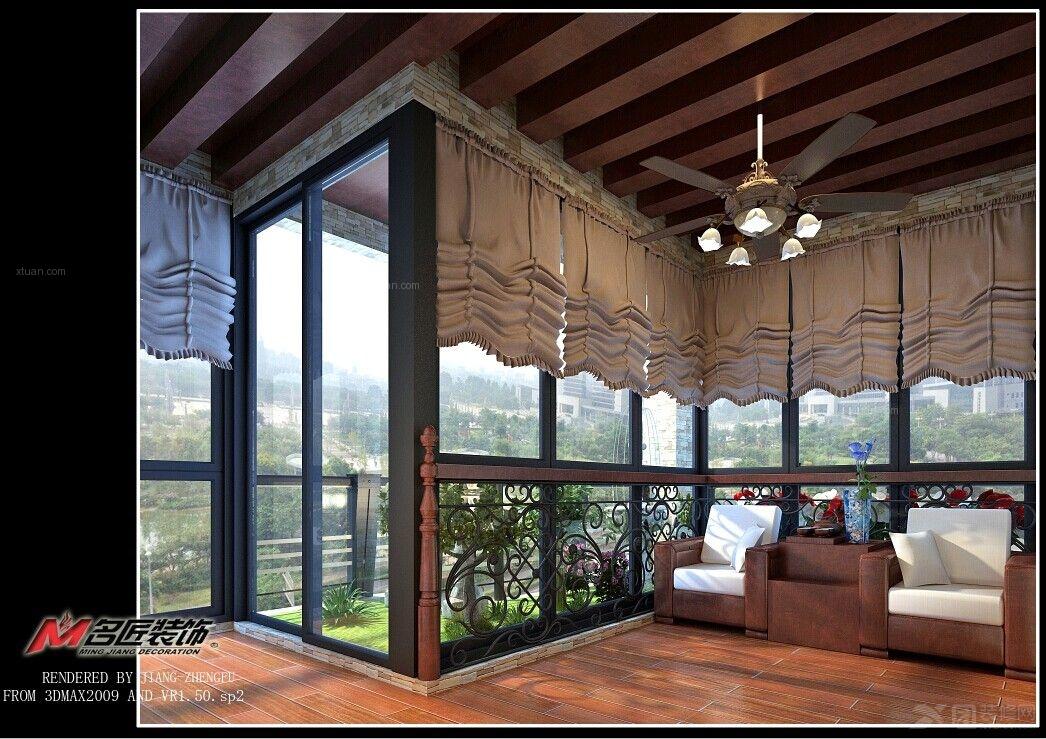 家庭阳台花园装修效果图 阳台花园设计装修效果图 巴洛克风格阳台花园