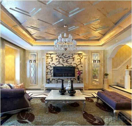别墅欧式风格客厅电视背景墙_麦迪逊别墅装修效果图-x