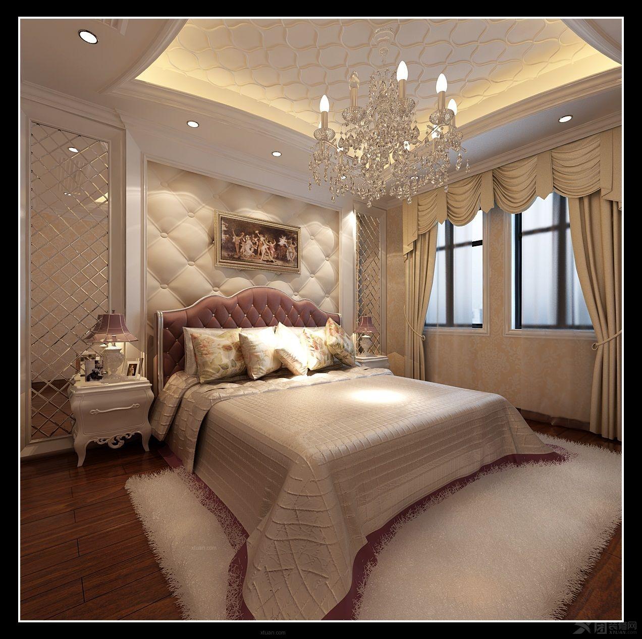 别墅欧式风格主卧室_托斯卡纳装修效果图-x团装修网图片
