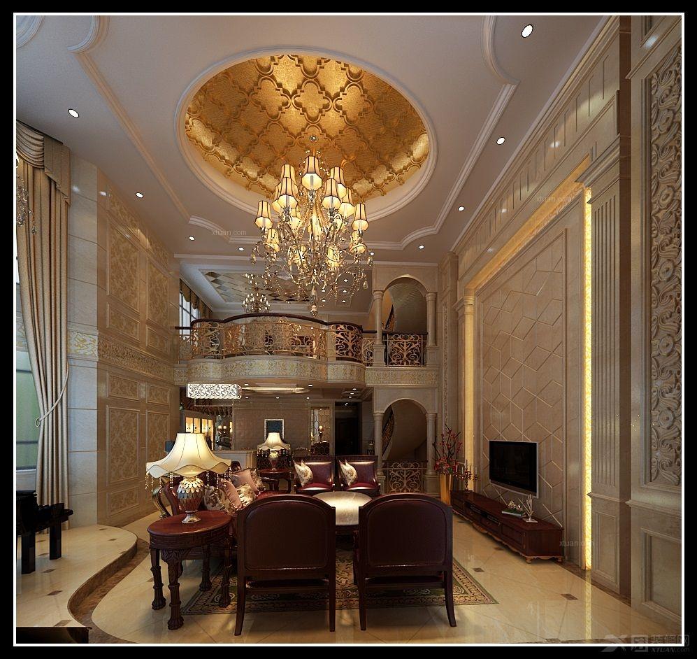 别墅欧式风格客厅_托斯卡纳装修效果图-x团装修网