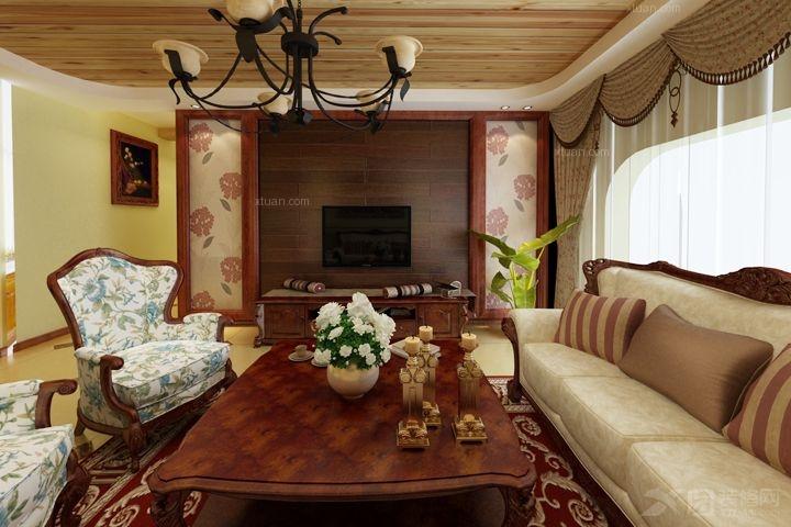 大户型美式风格客厅_美式简约 小石城图片