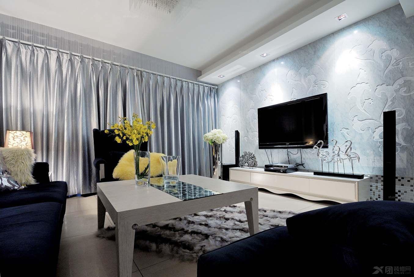 三居室现代简约客厅电视背景墙_大气晚成,低调的奢华