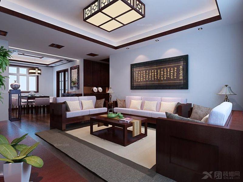 三室两厅中式风格客厅沙发背景墙_紫金风景线