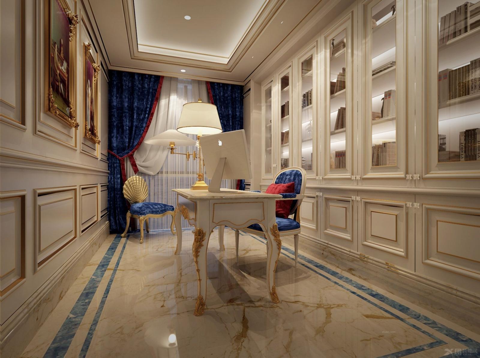 三居室欧式风格书房_法式风情图片