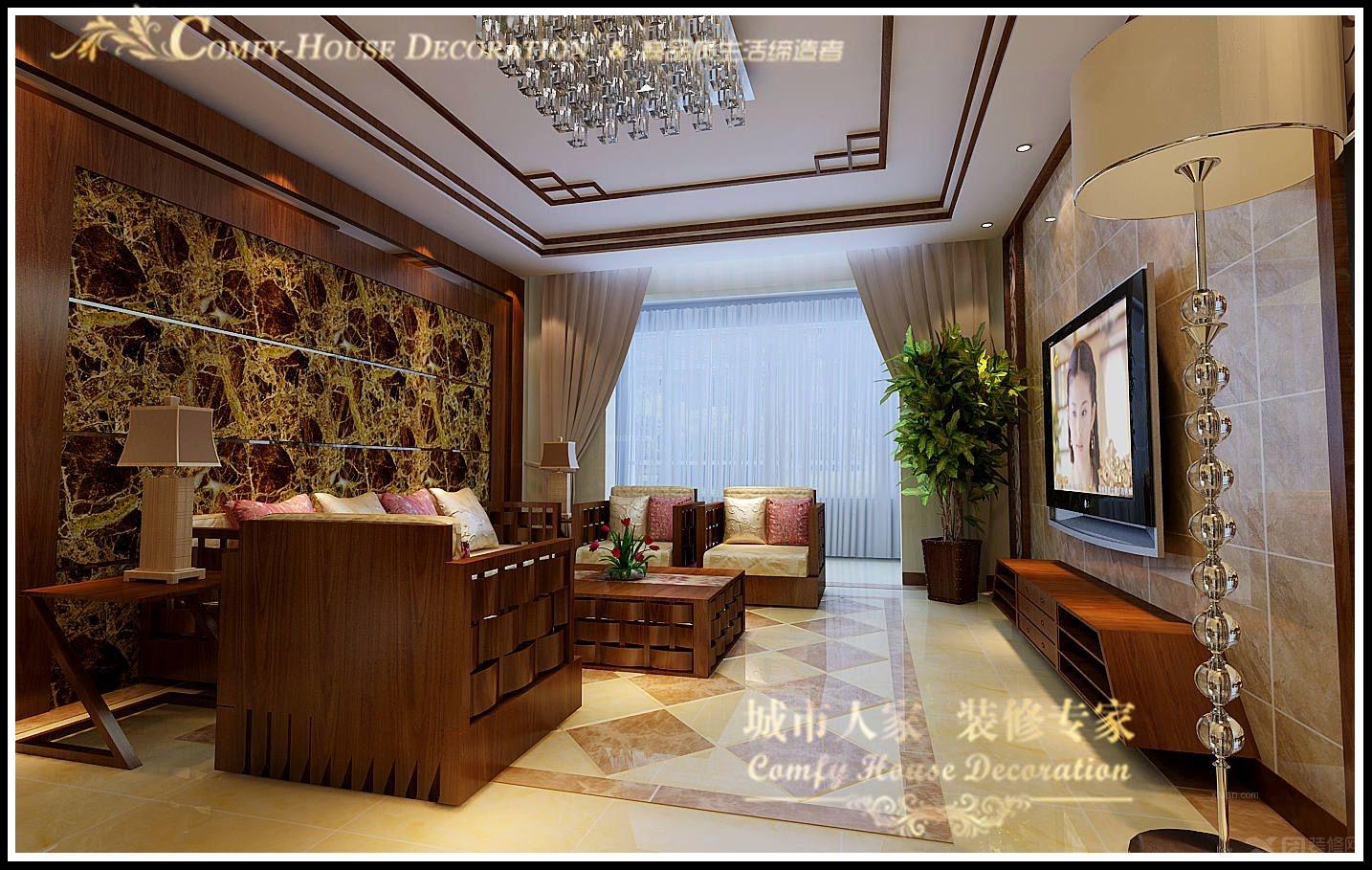 三室两厅现代简约客厅_齐悦国际小区设计方案