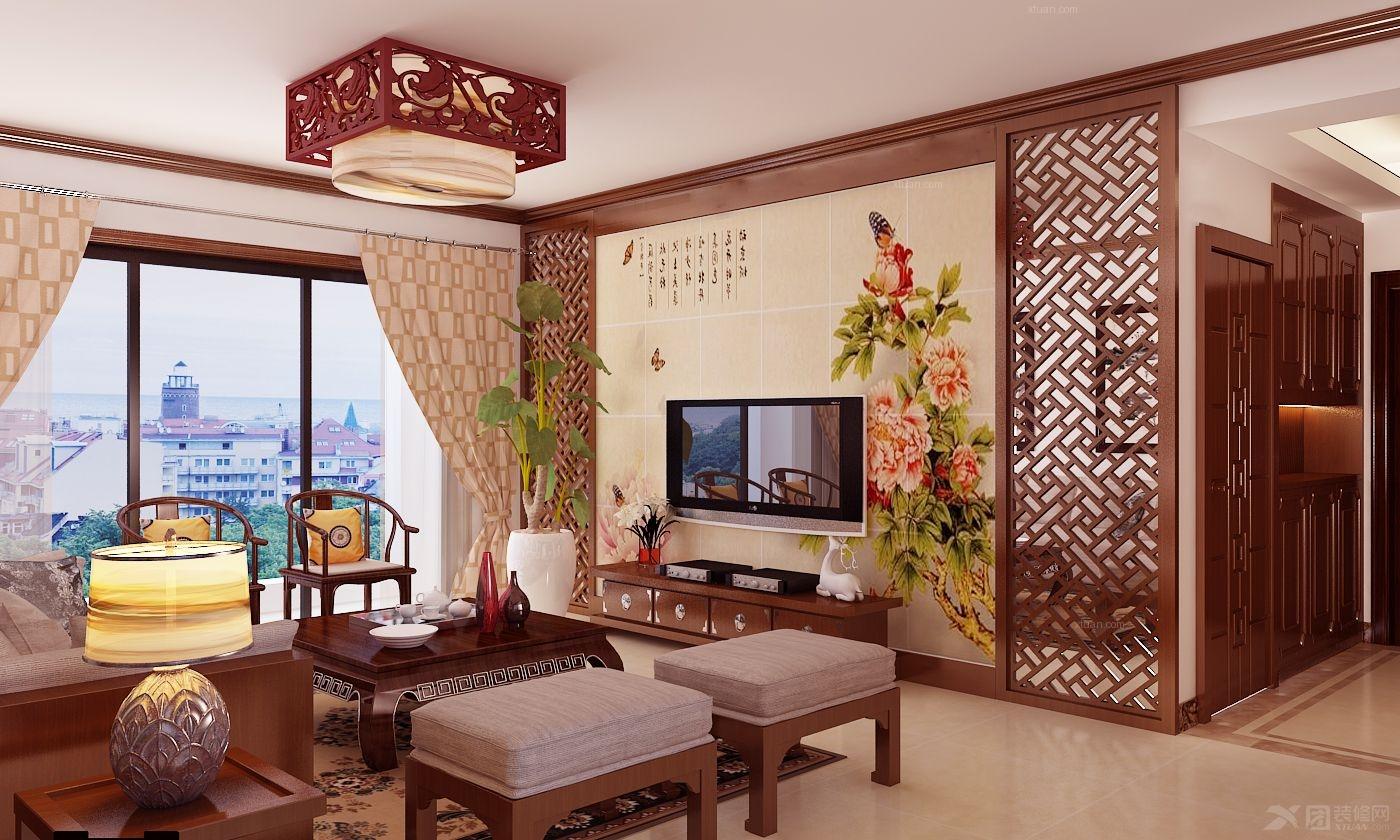 四居室中式风格客厅电视背景墙_荣和大地
