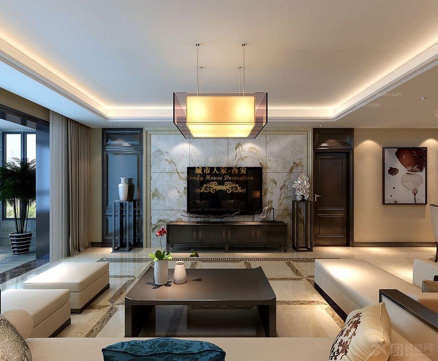 三室两厅中式风格客厅电视背景墙_【西安城市人家】逸翠尚府:美女设计图片