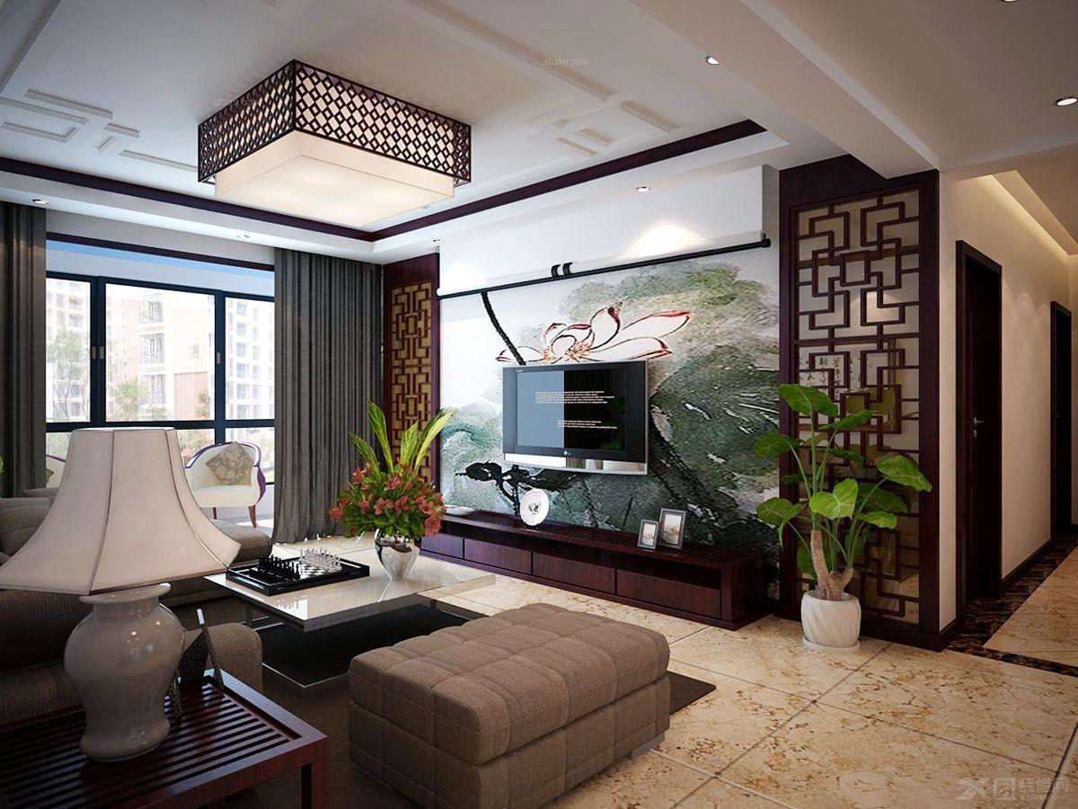 三室两厅中式风格客厅电视背景墙_壹号城邦