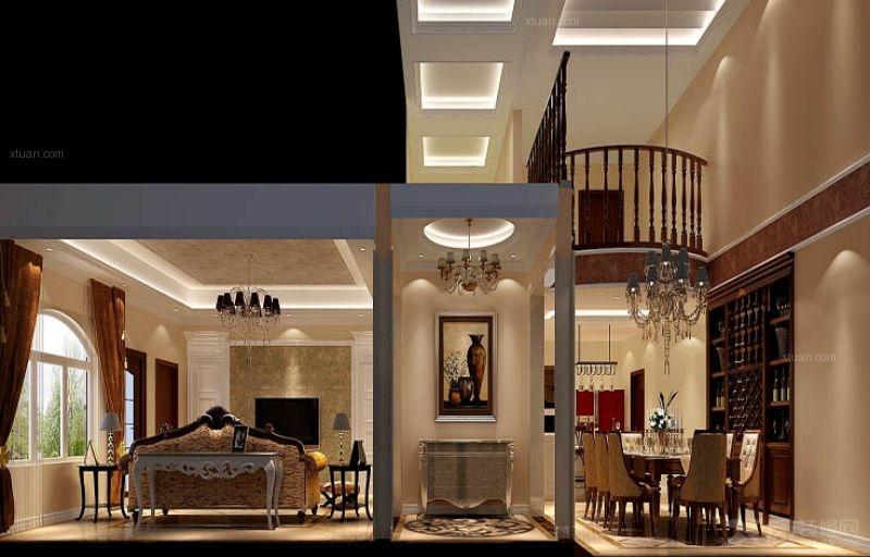 独栋别墅过道榻榻米_香江别墅420平米独栋别墅欧式风格装饰图图片