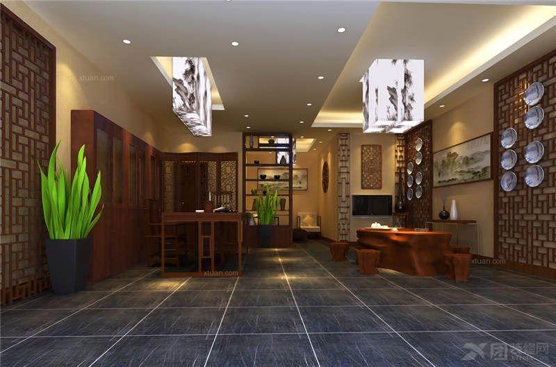别墅中式风格交换空间_中式仿古设计装修效果图-x团图片