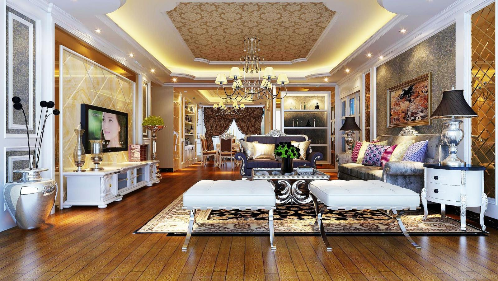 三居室欧式风格客厅_盛唐至尊图片