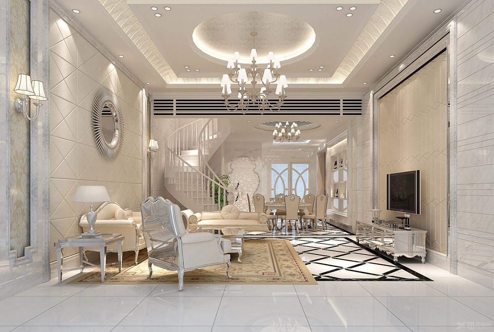 地板,如果使用拼花的大理石地砖在厅堂地面做出造型可以给简欧风格的