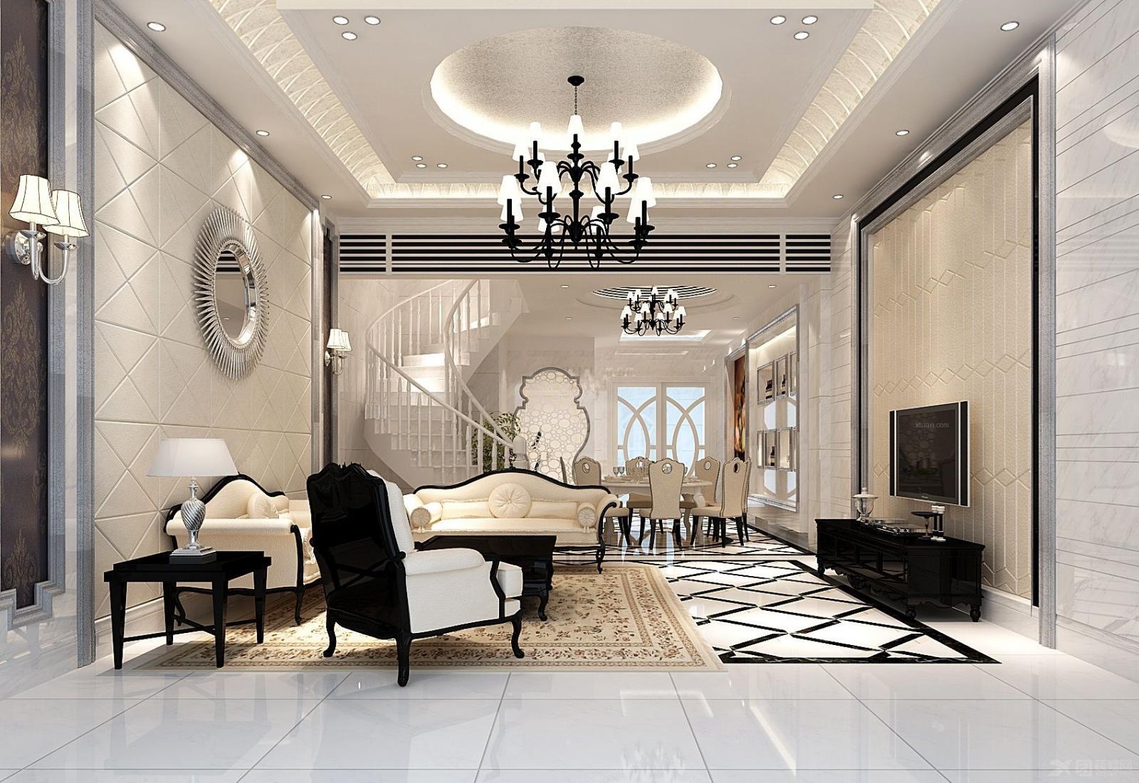 别墅简欧风格客厅电视背景墙_中骏蓝湾装修效果图-x团图片