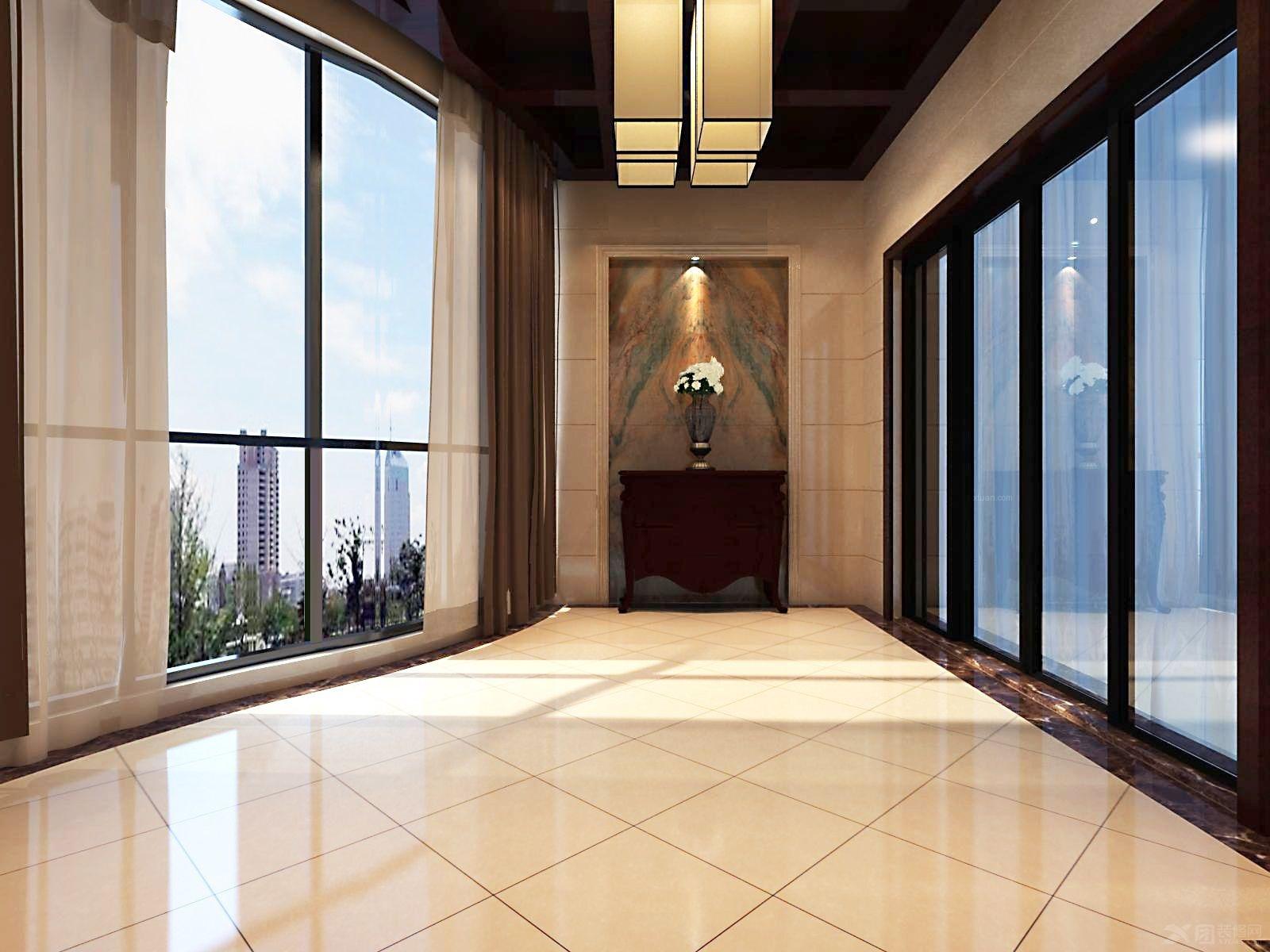 玄关装修效果图 彩色艺术玻璃蒂凡尼复古鹦鹉阳台吊灯 过道玄关走廊吊