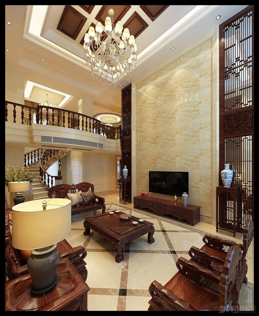复式楼混搭风格客厅电视背景墙_万豪国际图片