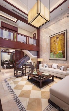 复式楼欧式风格客厅沙发背景墙_山景叠院5号楼图片