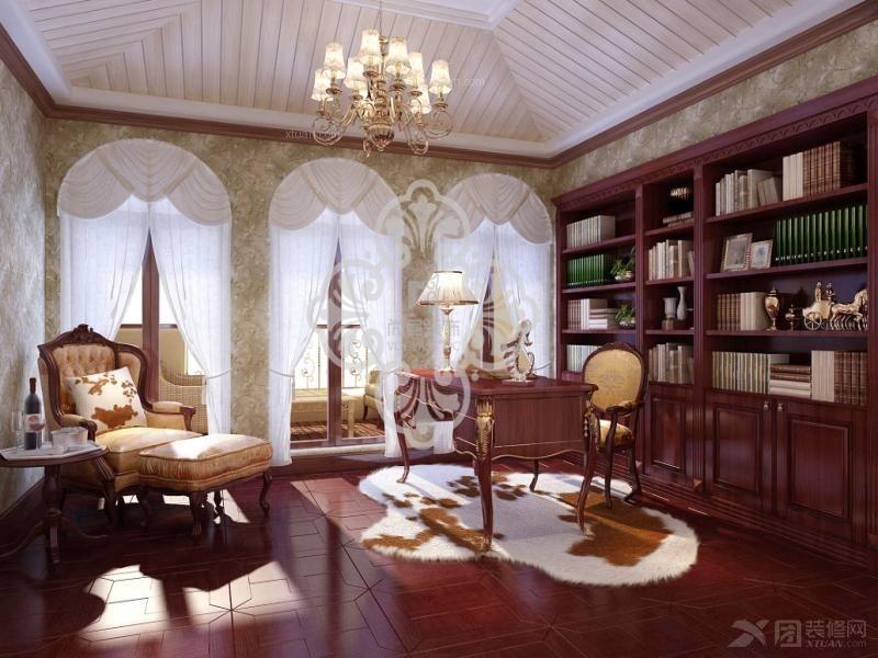 上书房经典黑白灰装修效果图 打造实用中式书房风格装修效果图  户型图片