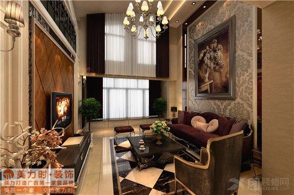 复式楼欧式风格客厅_盘龙居复式楼180平米现代欧式图片