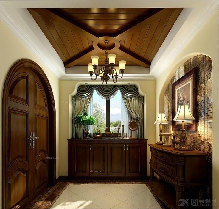 别墅美式风格客厅影视墙_温江香瑞湖美式风格案例温江公司