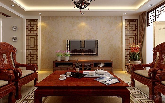 三室两厅中式风格客厅电视背景墙_容郡国际装修效果图图片