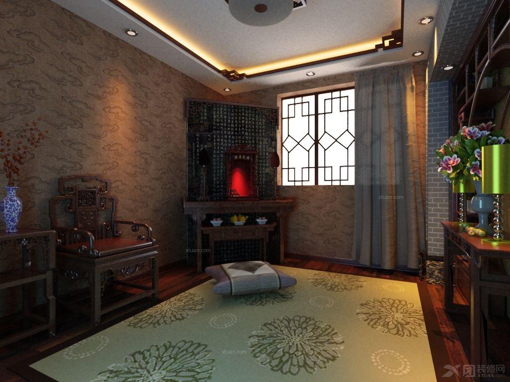 户型:别墅 房间:书房 风格:中式风格 装修类型:家装 装修方式:半包图片