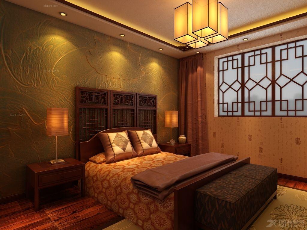 户型:别墅 房间:卧室 风格:中式风格 装修类型:家装 装修方式:半包图片