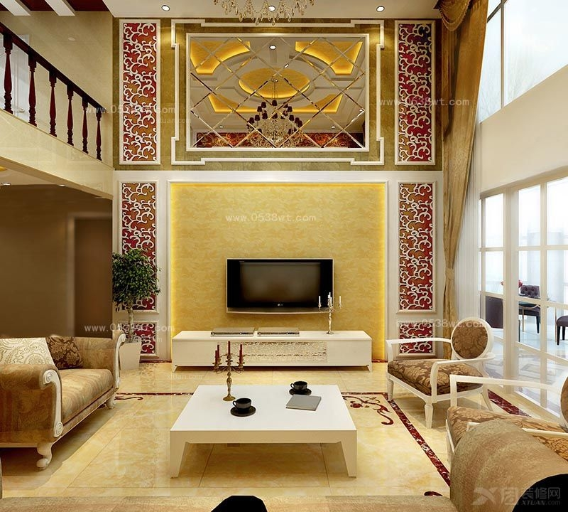 复式楼欧式风格客厅电视背景墙_泰安三合御都,170平米图片