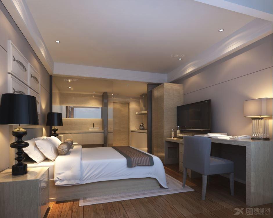 现代简约宾馆_金都路酒店式公寓装修效果图-x团装修网