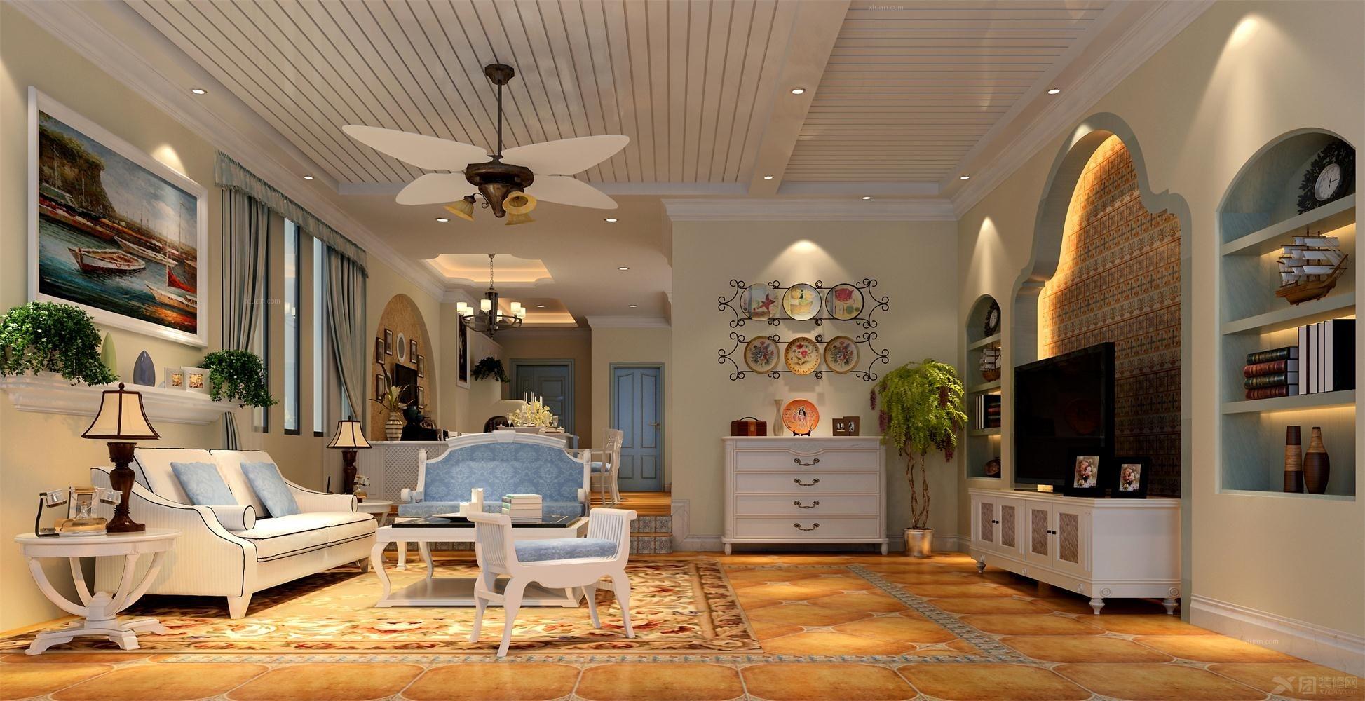 两室两厅客厅照片墙_美灵湖地中海