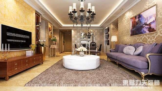 三居室欧式风格客厅_卢浮宫馆三居简欧风格