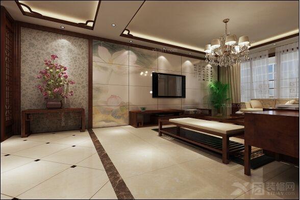 136平米-客厅装修效果图 中式别墅客厅装修效果图  户型:三室两厅图片