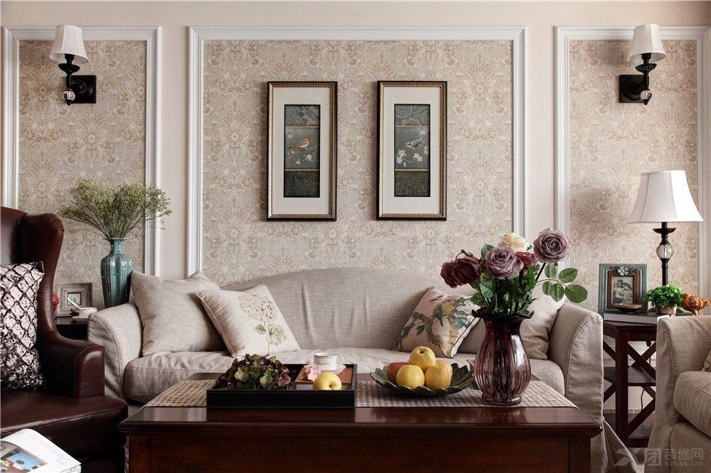 别墅美式风格客厅沙发背景墙_明泉璞院别墅美式风格设计方案图片