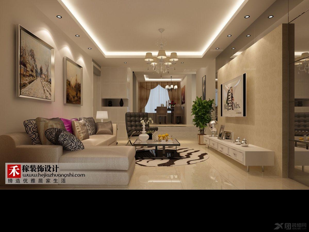 三室一厅欧式风格客厅沙发背景墙_闵行区白雪公主三居室时尚大气温情图片