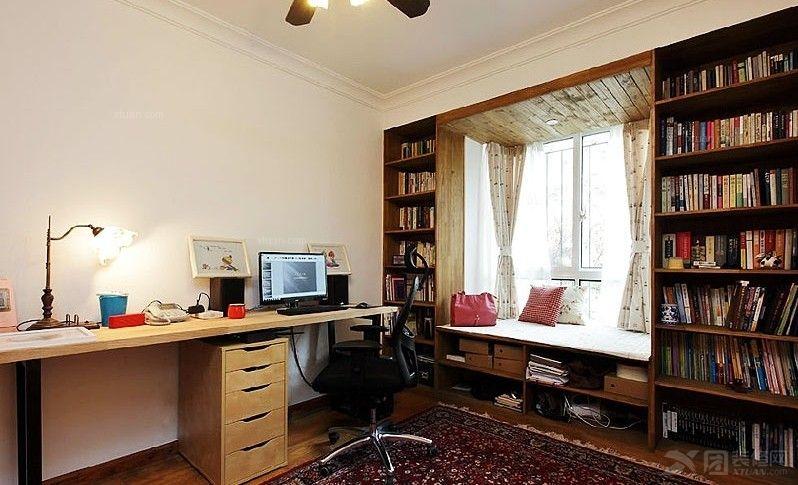 打造实用中式书房风格装修效果图  户型:两居室 房间:书房 风格:简约图片