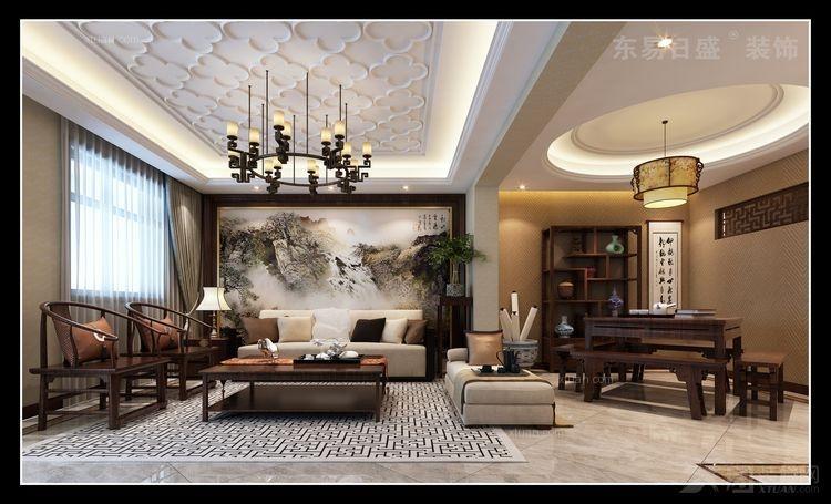 复式楼中式风格客厅沙发背景墙_荆州东易日盛:loft中式风格 新城国际
