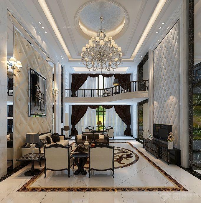 别墅欧式风格客厅沙发背景墙_赣州自建别墅图片