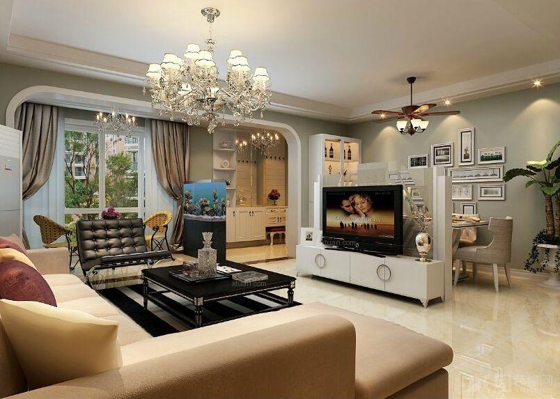 三居室現代簡約客廳電視背景墻_浐灞半島裝修效果圖-x