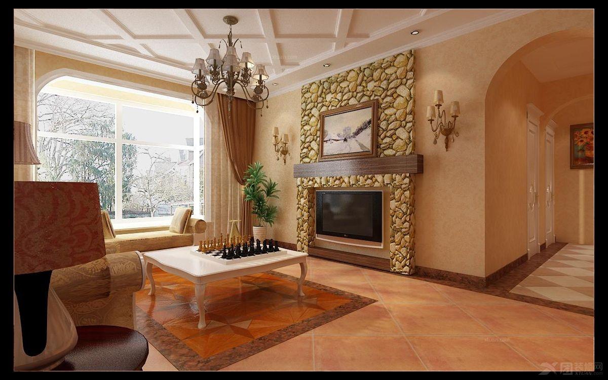 大户型欧式风格客厅电视背景墙_中基礼域130欧式