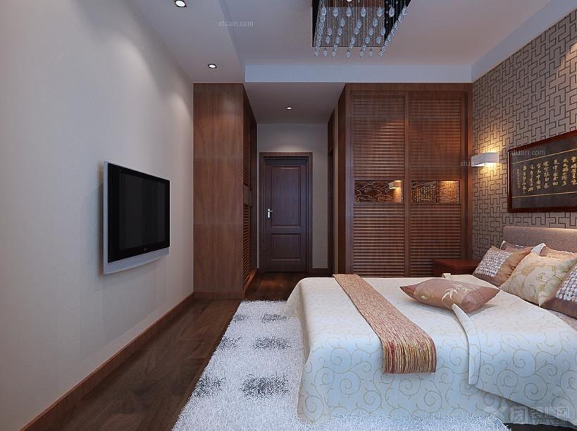 三室两厅中式风格卧室_政和东郡装修效果图-x团装修网图片