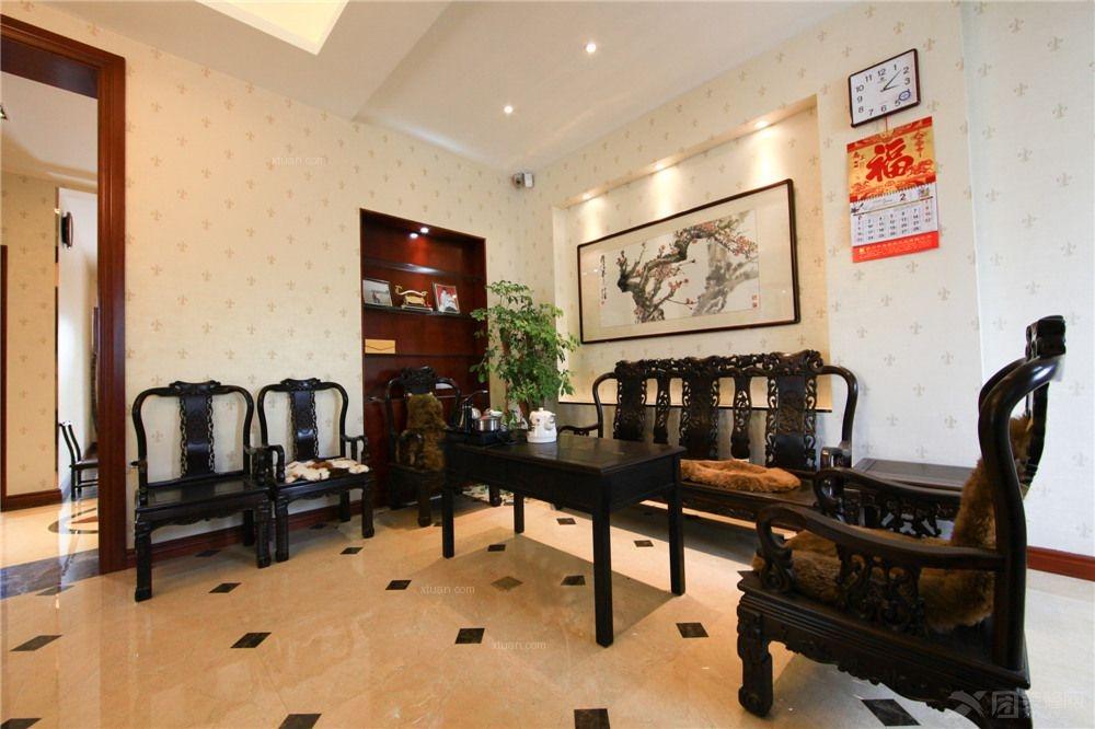 别墅中式风格客厅电视背景墙_叠加别墅的中式雅韵图片